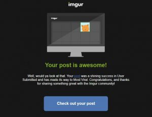 email screenshot of imgur first page achievement