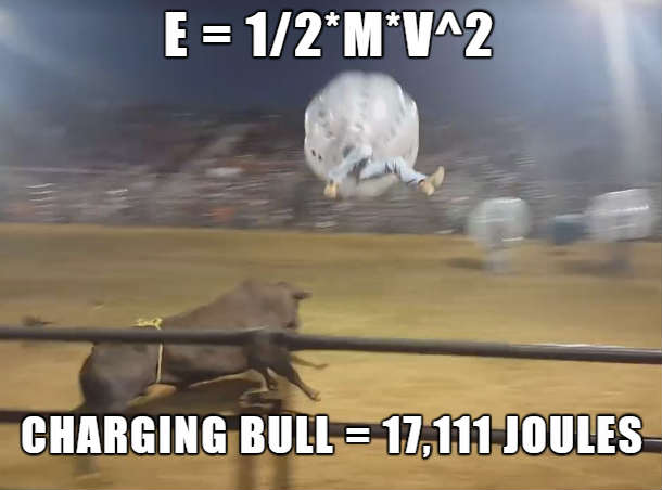 charging bull hits man in bubble suit - force of a charging bull - kinetic energy